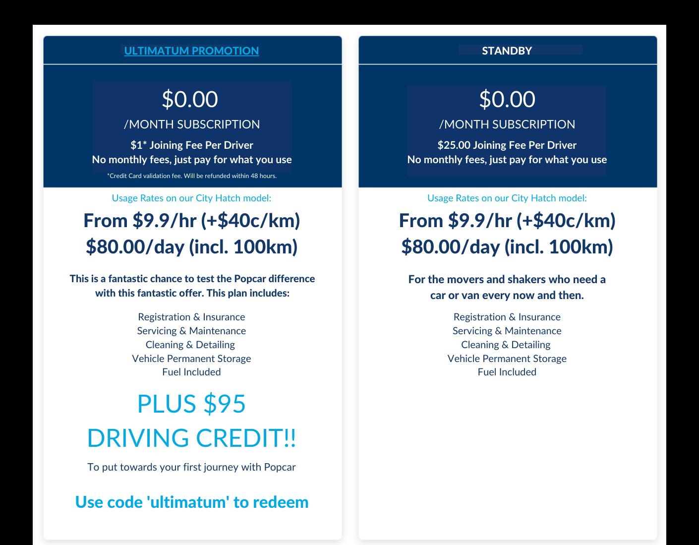 Popcar Pricing Comparison